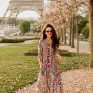 Zara women's maxi shirt dress striped floral